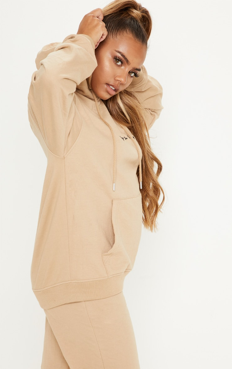 PRETTYLITTLETHING Sand Embroidered Oversized Hoodie 2