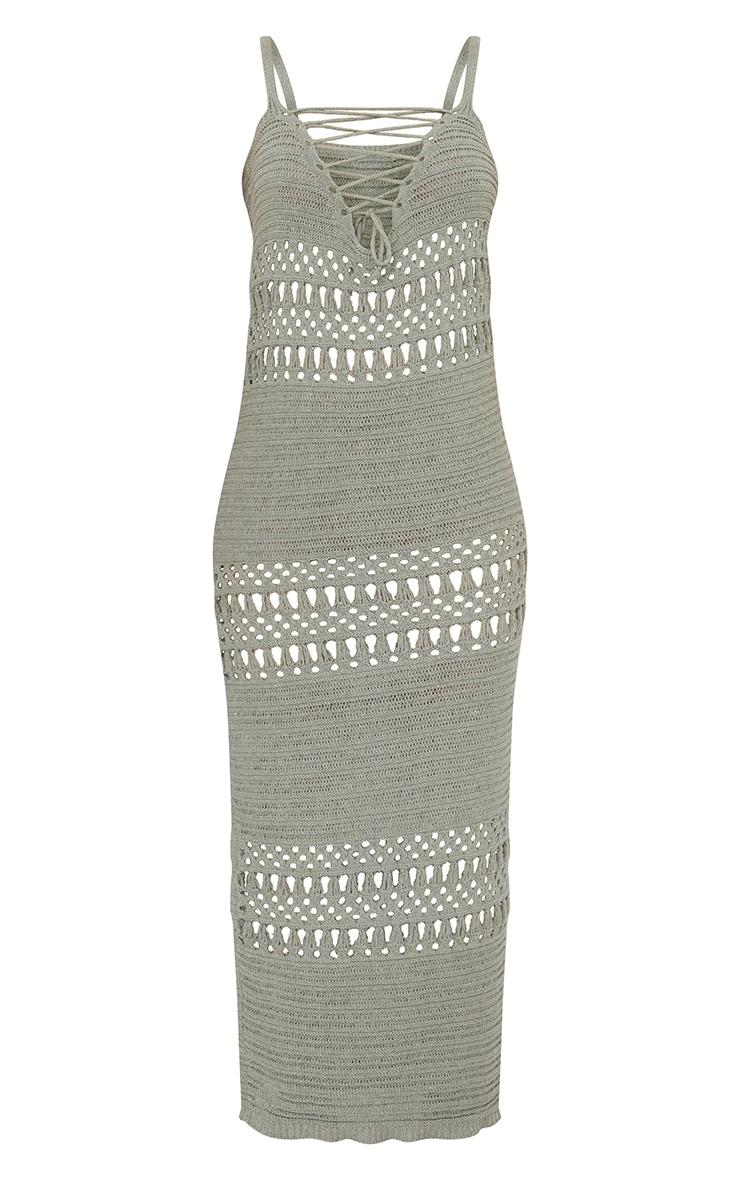 Sage Green Crochet Lace Up Midaxi Dress 5