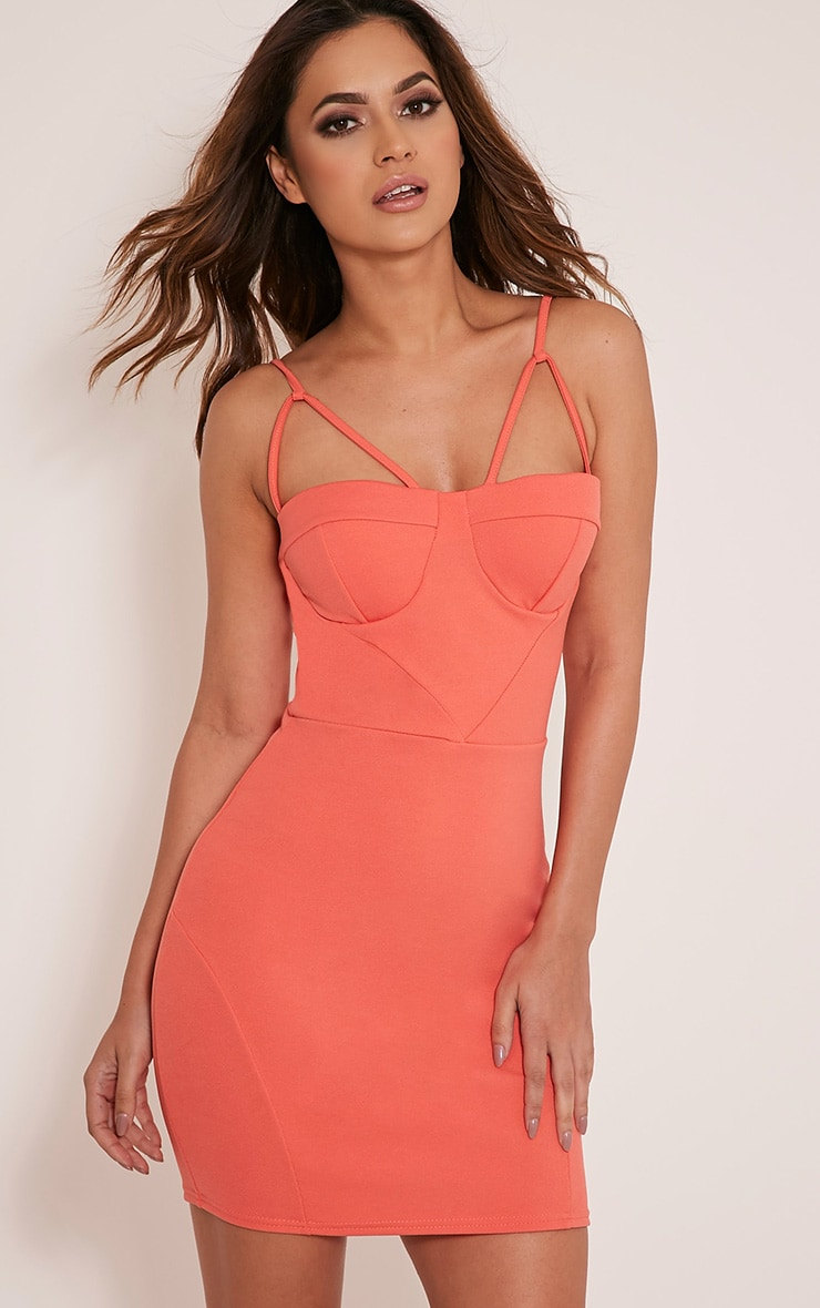 Carrie Coral Crepe Panel Bodycon Dress 1