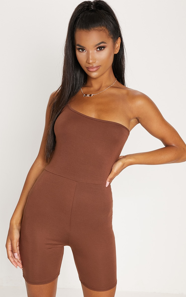 Chocolate Jersey One Shoulder Strappy Unitard 1