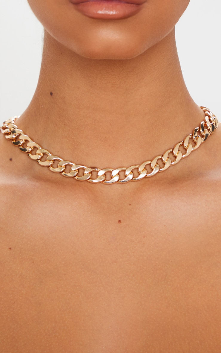 Gold Chunky Short Flat Link Chain Necklace 2