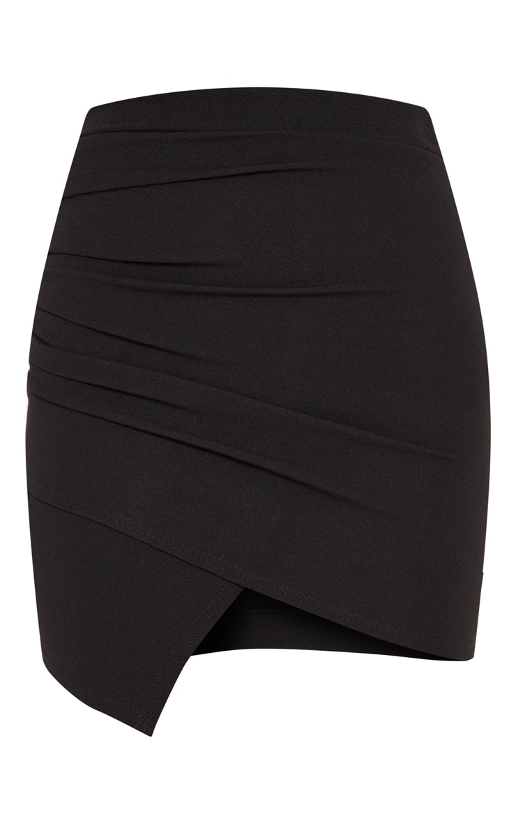 Black Ruched Wrap Mini Skirt 3