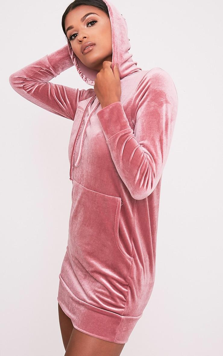 Harmanie Dusty Pink Velvet Hooded Dress 4