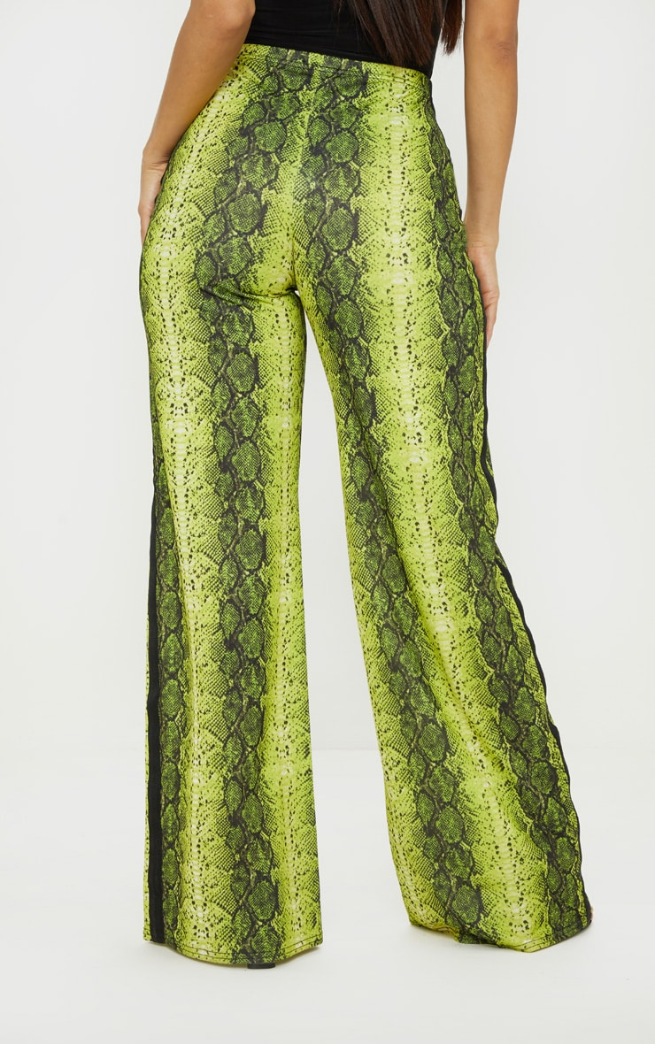 Snake Printed Contrast Side Stripe Wide Leg Pants 4
