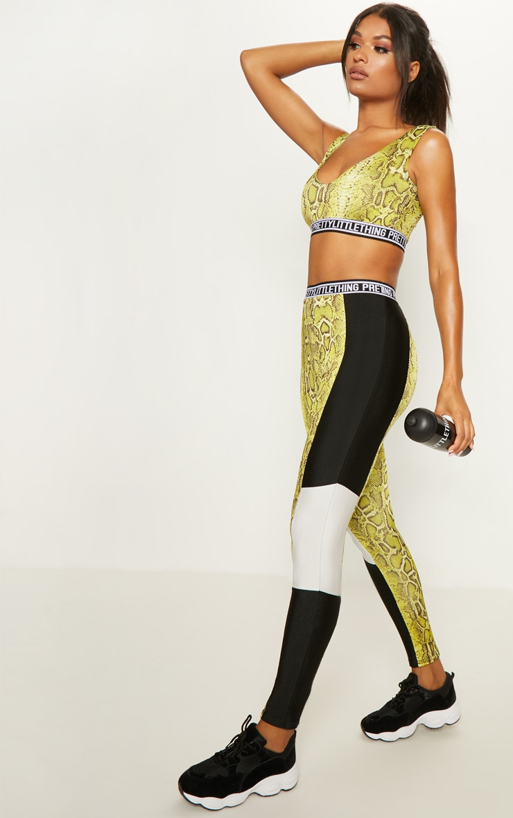 PRETTYLITTLETHING Lime Snake Leggings 1
