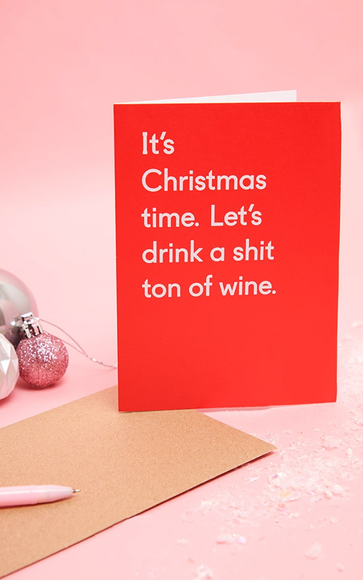 Ohh Deer Lets Drink A Shit Ton Of Wine Christmas Card 1