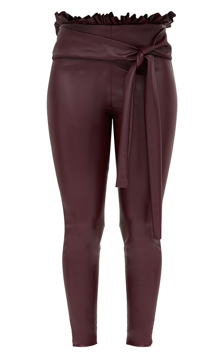Maroon Faux Leather Paperbag Waist Skinny Trousers 3