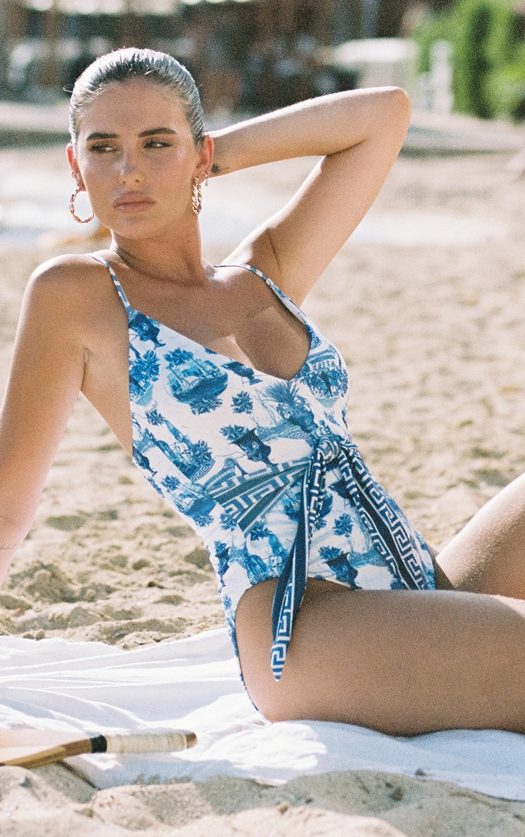 Blue Greek Key Tie Waist Swimsuit