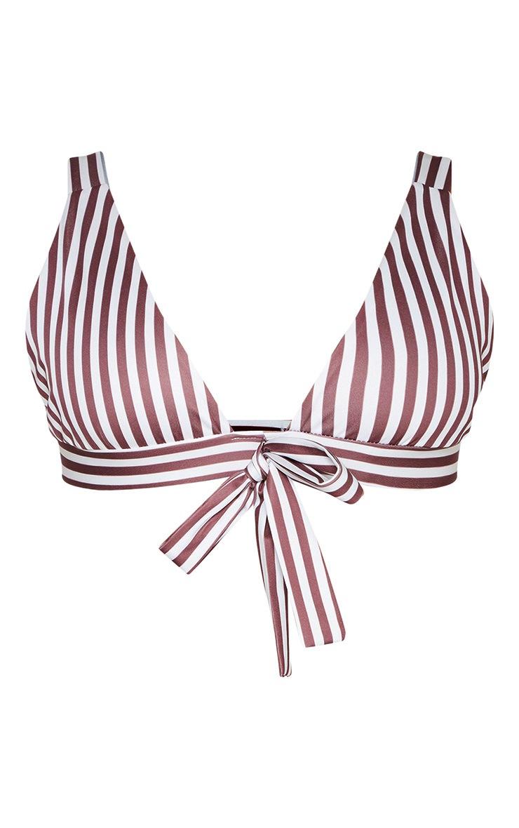 Chocolate Stripe Plunge Bow Bikini Top 3