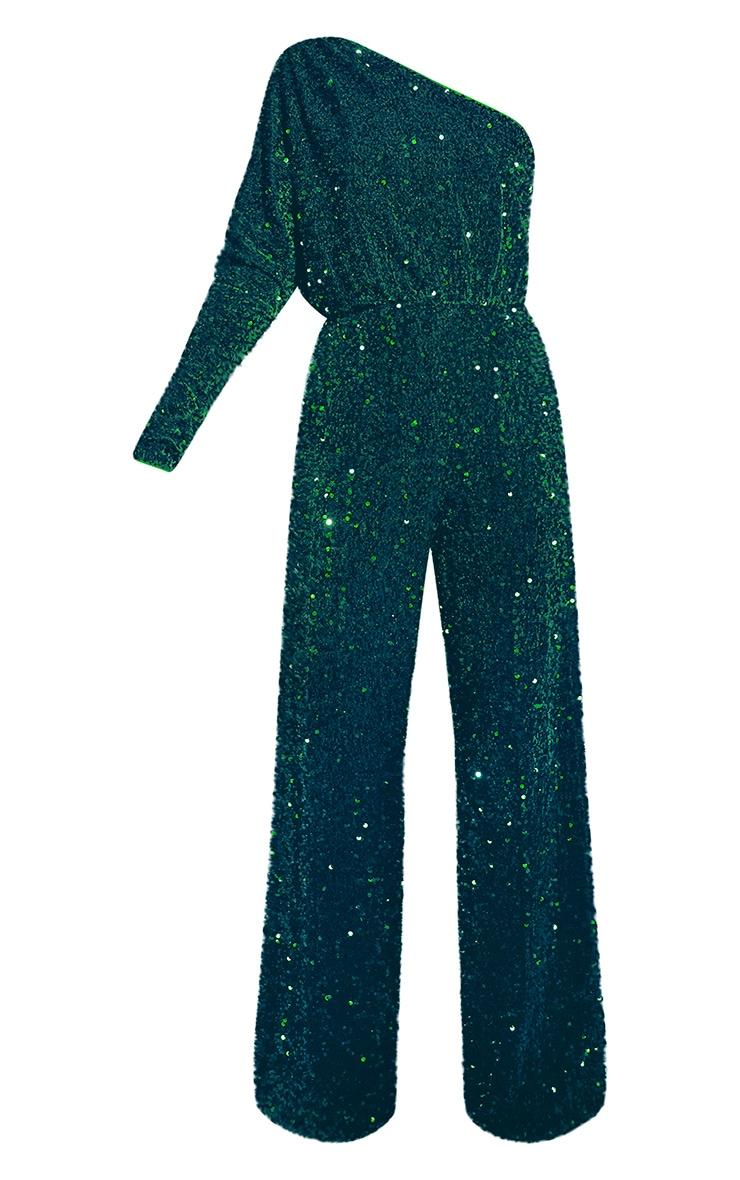 Emerald Green Premium Velvet Sequin One Shoulder Wide Leg Jumpsuit 5