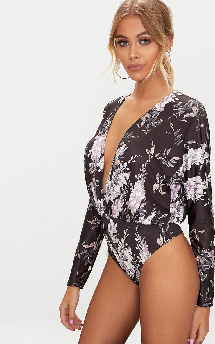 Black Slinky Floral Print Long Sleeve Thong Bodysuit 2
