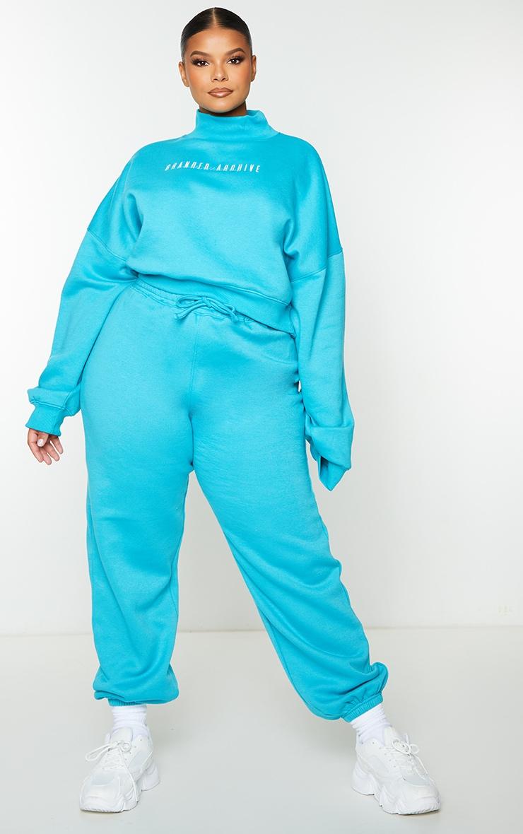 Plus Blue High Neck Crop Sweatshirt 3