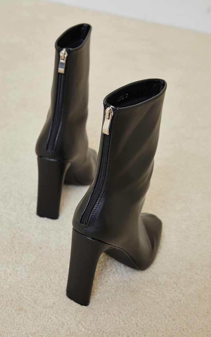 Black High Flat Heel Ankle Boots 4