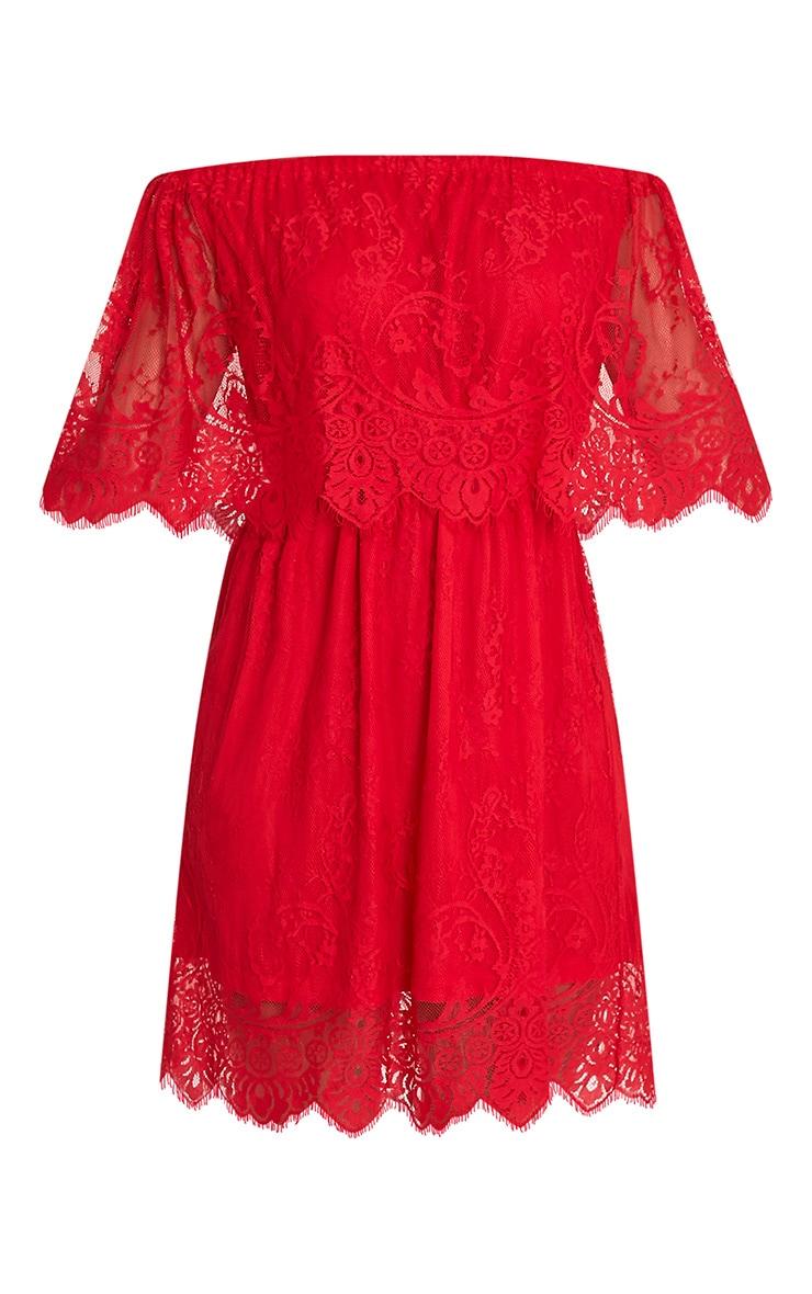 Zoe Red Eyelash Lace Bardot Dress 3