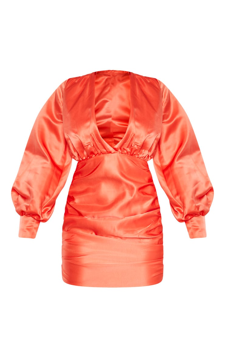 Petite Orange Satin Oversized Sleeve Mini Dress 3