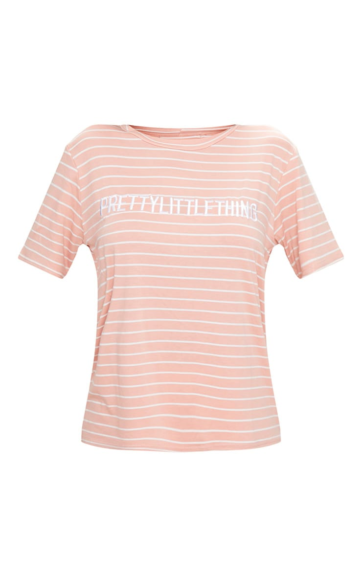 PRETTYLITTLETHING Baby Pink Embroidered Stripe T Shirt  3