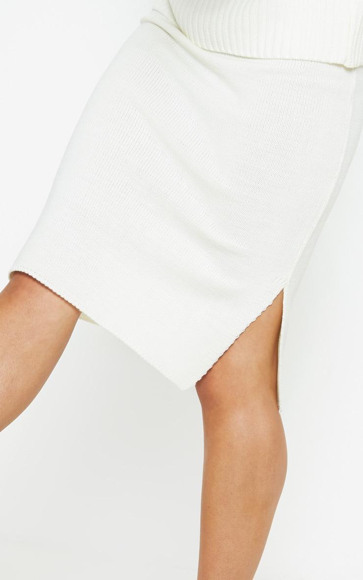 Cream Midi Knitted Skirt  5
