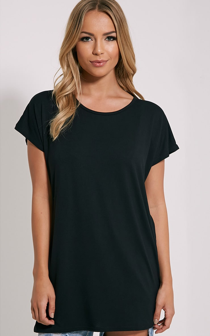 Basic Black Oversized Round Neck T-Shirt 1