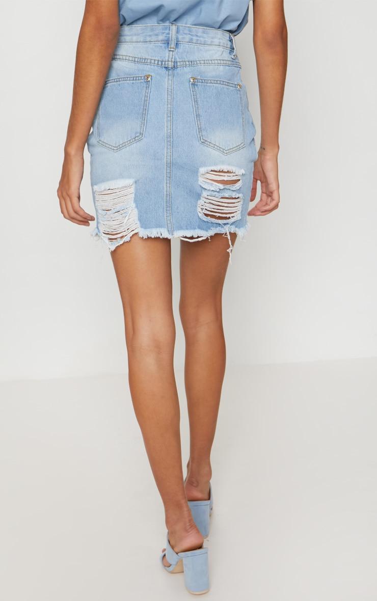 Mid Wash Heavy Distressed Denim Mini Skirt 4