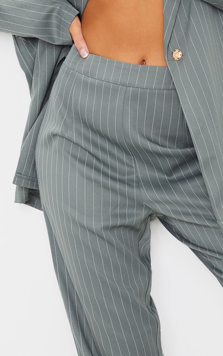 Teal Pinstripe Belted Straight Leg Trousers 4
