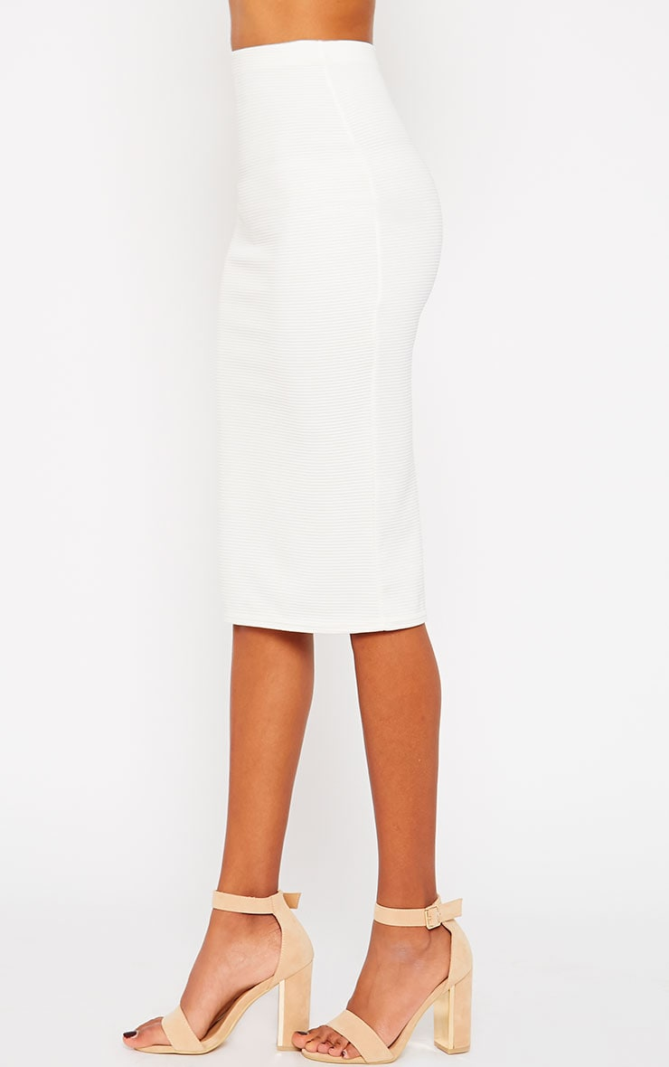 Morgan Cream Ribbed Midi Skirt 3