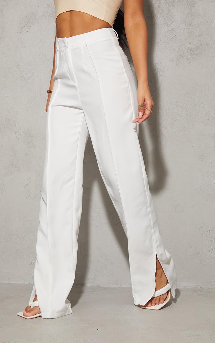 White Pintuck Detail Split Hem Woven Trousers 2