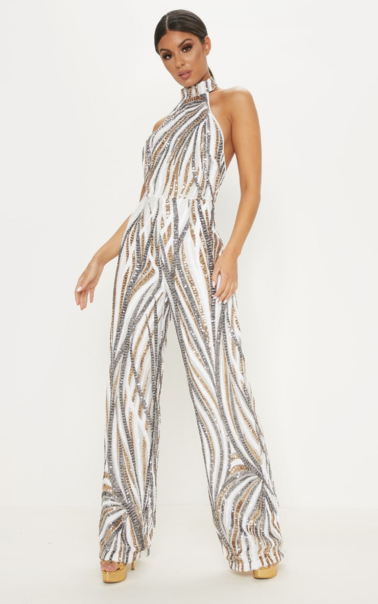 Gold Sequin High Neck Jumpsuit 1