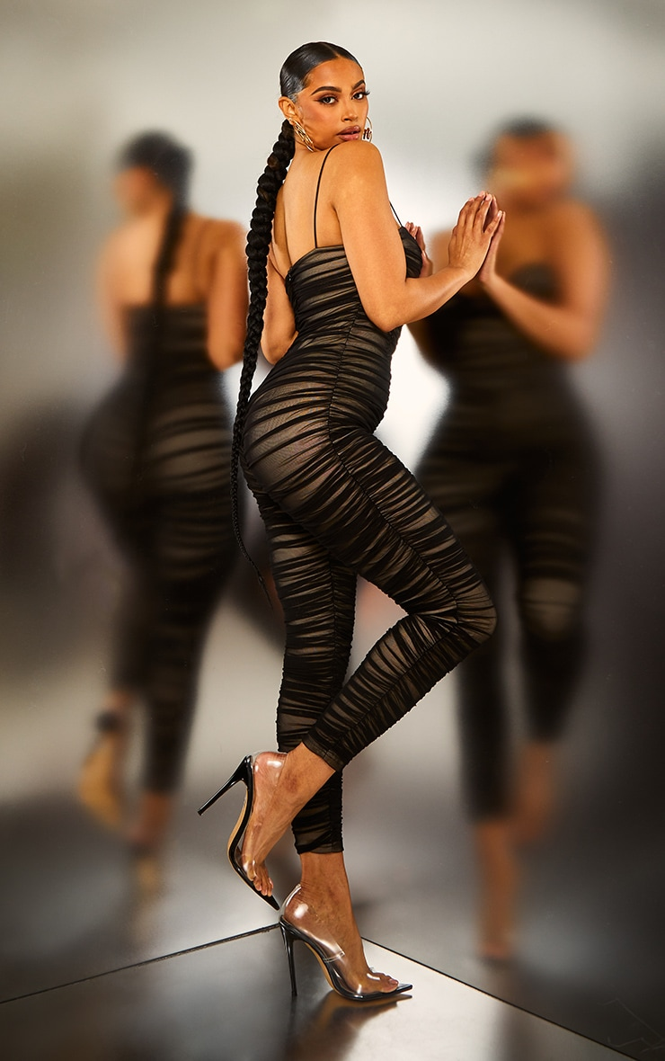 Black Ruched Mesh Underwire Jumpsuit