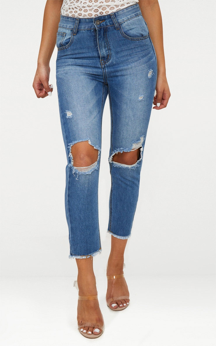 Mid Wash Knee Rip Straight Leg Jean 2