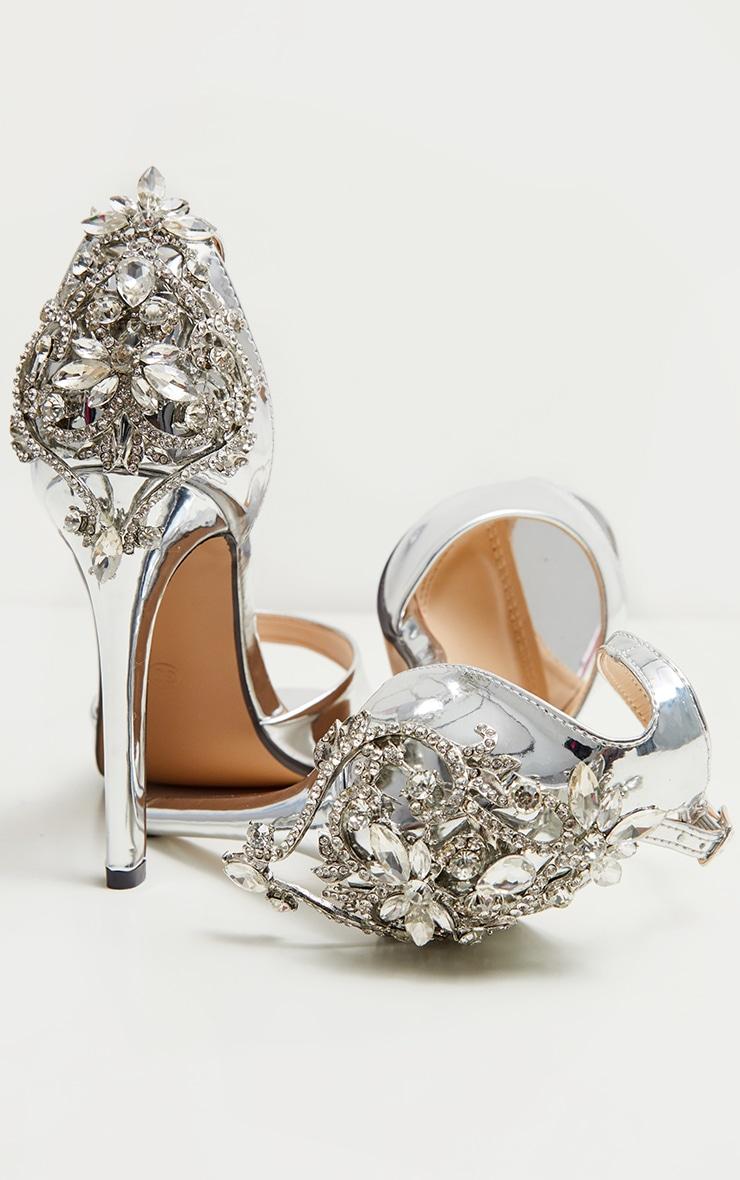 Silver Jewel Heel Single Strap Sandal 3