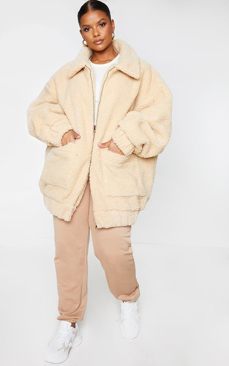 Plus Camel Oversized Borg Pocket Front Coat 1
