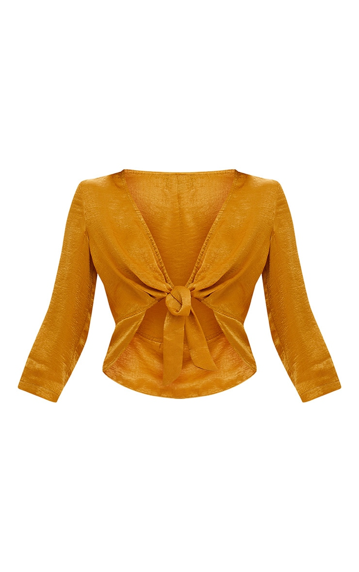 Mustard Hammered Satin Tie Front Frill Crop Top 3