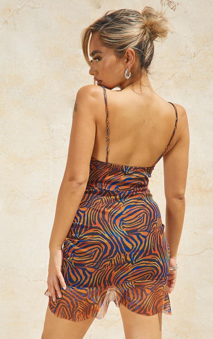 Petite Red Zebra Print  Mesh Ruched Bodycon Dress 2