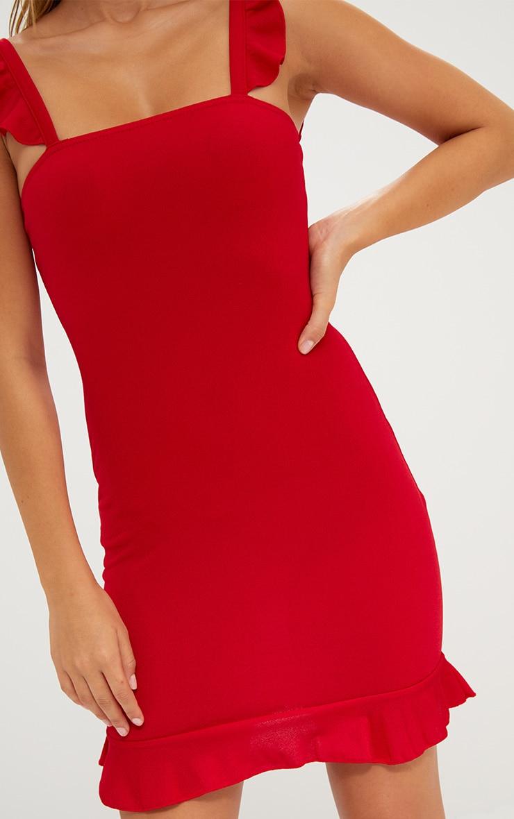 Red Square Neck Frill Strap Bodycon Dress 5