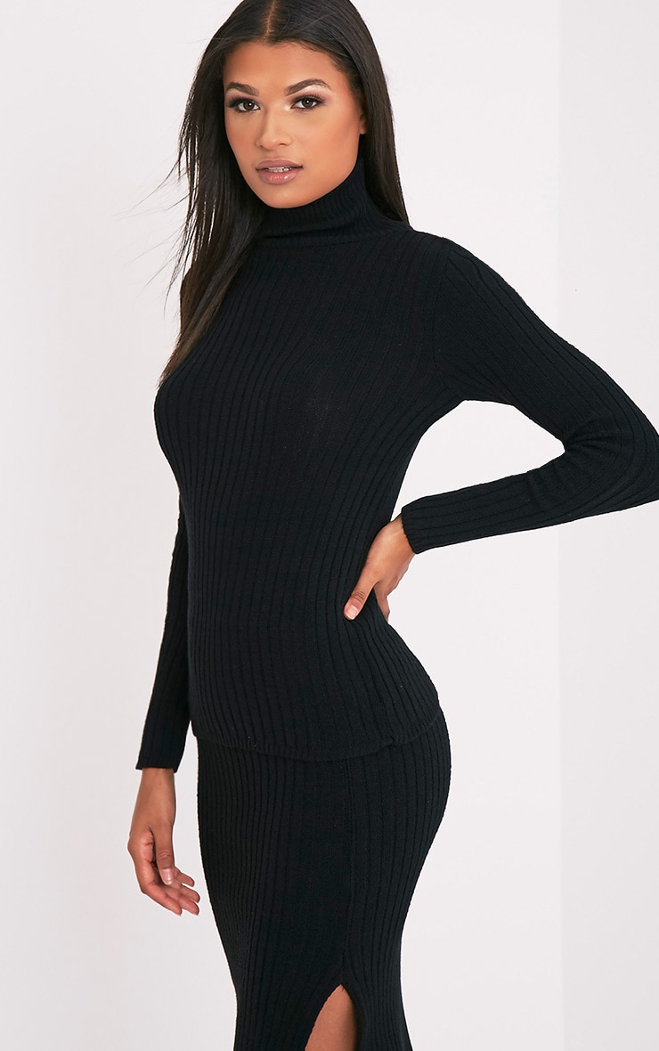 Ulanie Black Turtle Neck Ribbed Knitted Jumper 4