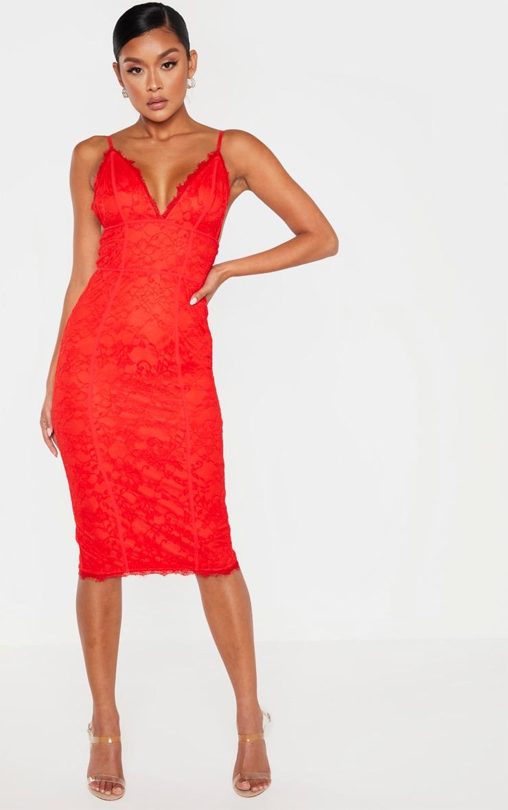 Red Lace Midi Dress 1