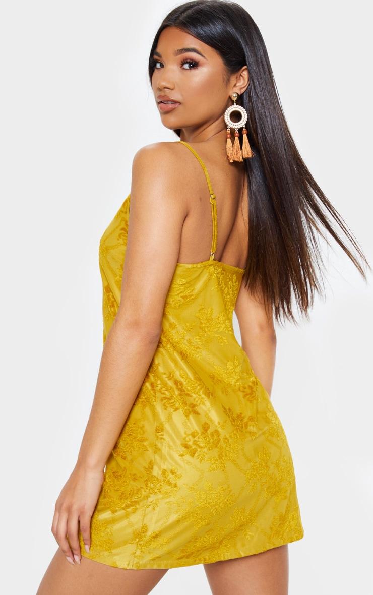 Mustard Burnout Velvet Cami Dress 3