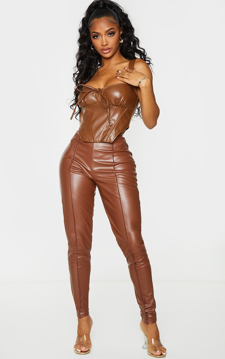 Shape Chocolate Brown Faux Leather Tie Detail Corset Top 3