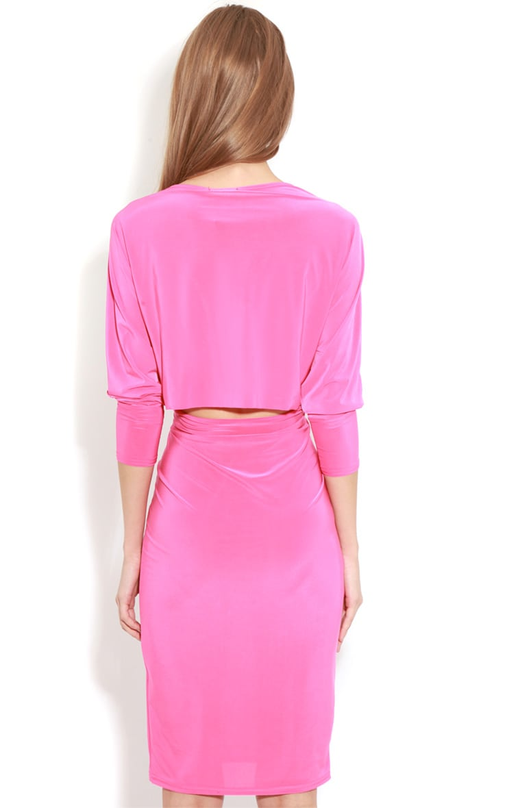 Edan Fuschia Long Sleeve Bodycon Midi Dress  2