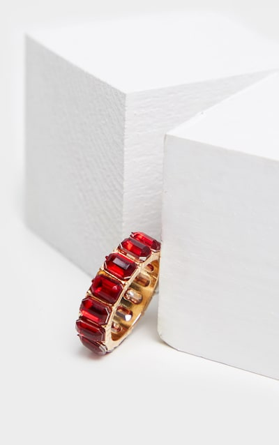 Ruby Red All Round Diamante Band Ring