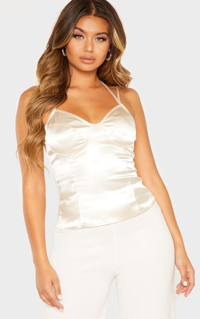 edd886e9b60ee2 Cream Satin Strappy Cami Top