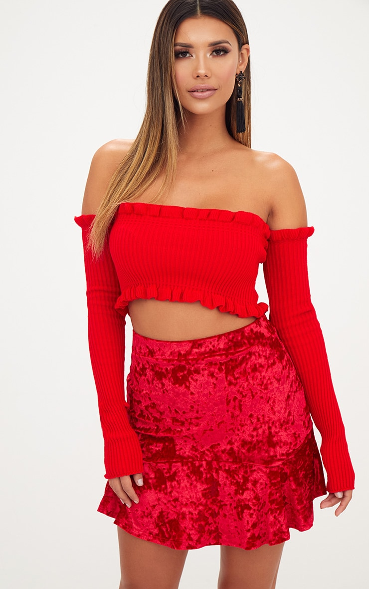 Red Velvet Flippy Hem Mini Skirt 1