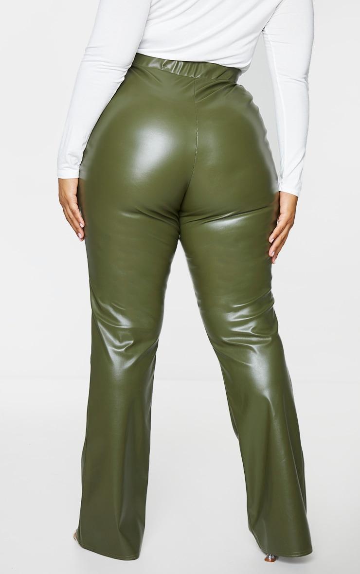 Plus Khaki PU Flared Pants 3