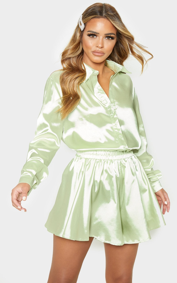 Petite Light Lime Satin Shirt 1
