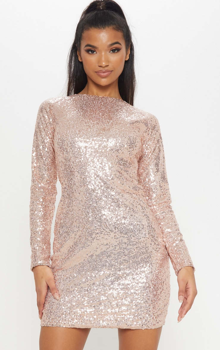 Rose Gold Sequin Long Sleeve Bodycon Dress 4