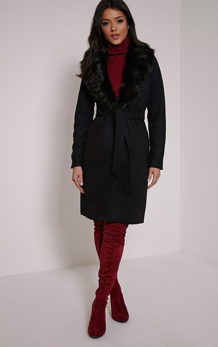 Deleena Black Large Faux Fur Collar Coat 4