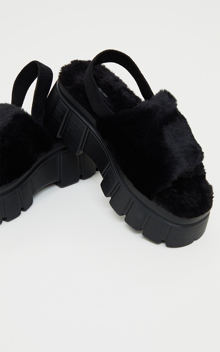 Black Extreme Chunky Sole Faux Fur Sandals 4