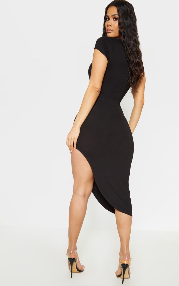 Black Side Split Midi Dress Dresses Prettylittlething