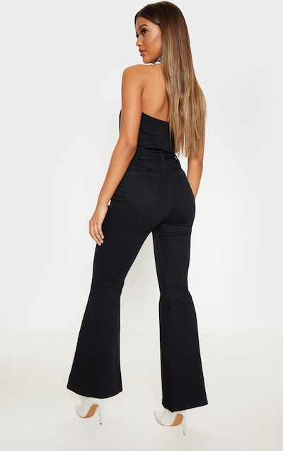 Black Belted Flared Bodycon Jumpsuit