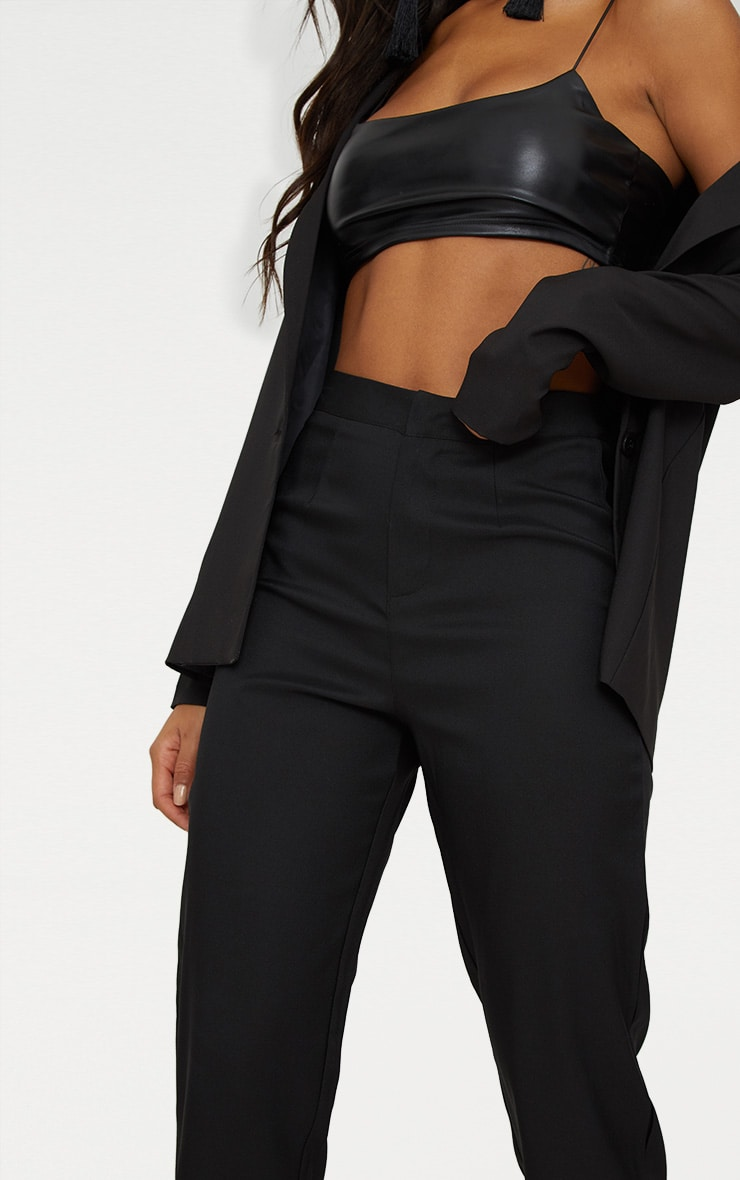 Black Straight Leg Tailored Trousers 5